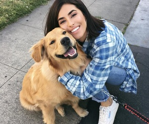 dog, girl, and golden retriever image