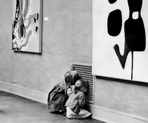art, kids, and black and white image
