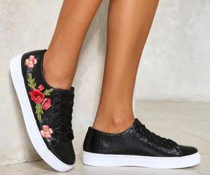 black, embroidered, and shoes image