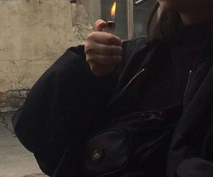 girl, cigarets, and lighter image