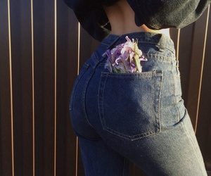 ass, flowers, and girl image