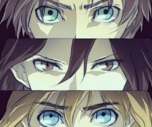 armin, mikasa, and snk image