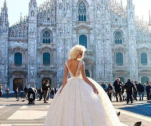 blonde hair, white dress, and curly hair image