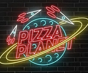 pizza, neon, and light image