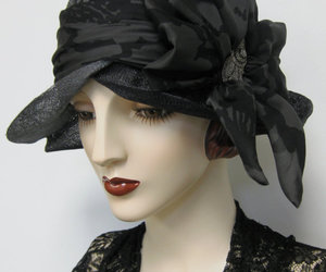 1920s, black and grey, and cloche image