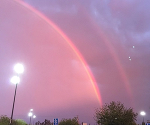 pink, rainbow, and sky image