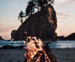 bonfire, fire, and nature image