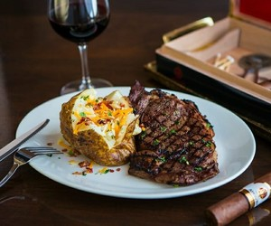 food, steaks, and baked potato image
