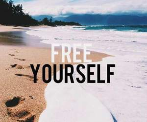 beach, sand, and free yourself image