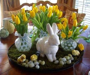 easter, flower arrangement, and easter bunny image