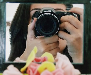 camera, girl, and rose image