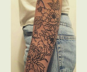 flowers, arm, and tattoo image