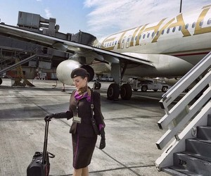 aviation, flight attendant, and girl image