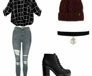 camisa a cuadros, oufit de invierno, and oufit back to school image