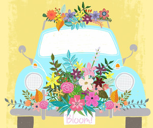 bug, car, and flower power image