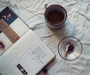 cafe, cigarette, and journal image