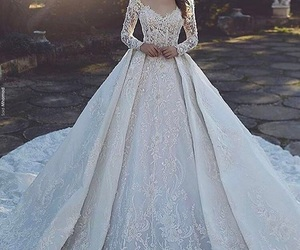 dress, wedding dress, and beauty image