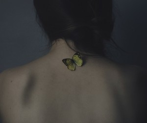 butterfly, girl, and grunge image