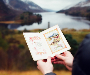 book, mountains, and nature image