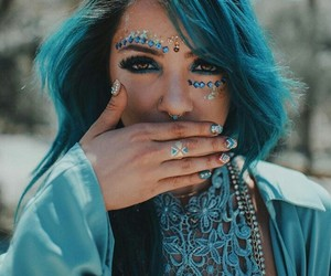 coachella, blue, and makeup image