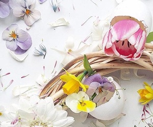 background, easter, and flowers image