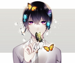 butterflies, colorful, and purple hair image