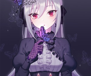 anime girl, gothic, and purple hair image