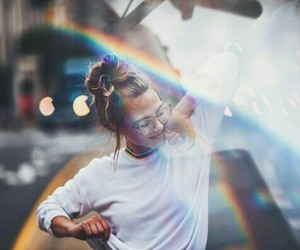 rainbow, girl, and photography image