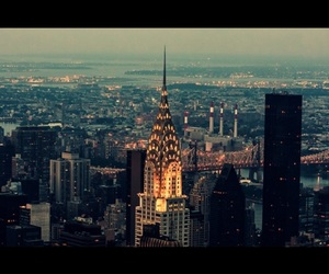 chrysler building, lights, and night image