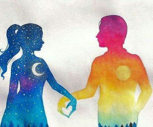 couple, moon, and sun image