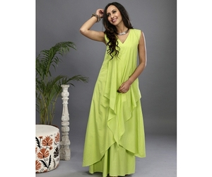 green gown, designer gown, and layered gown image
