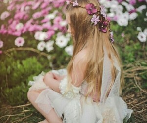 baby, spring, and flowers image