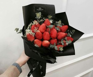 strawberry and flowers image