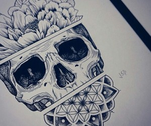 art, skull, and draw image