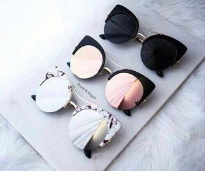 black, mirrors, and sunglasses image