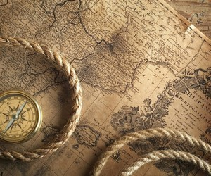 compass, map, and old image