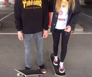 boy, girl, and skate image