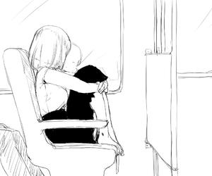 monochrome and anime girl image