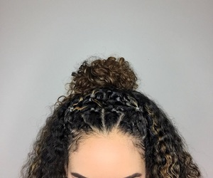 bun, curly, and hair image