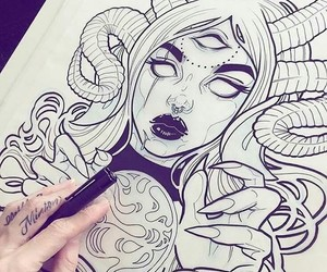drawing, design, and girl image