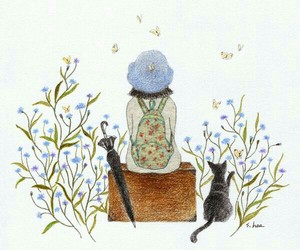 cat, flowers, and blue image