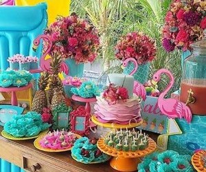 blue, cake, and flamingo image