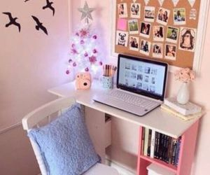 room, pink, and desk image