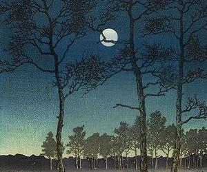 art, full moon, and japanese art image