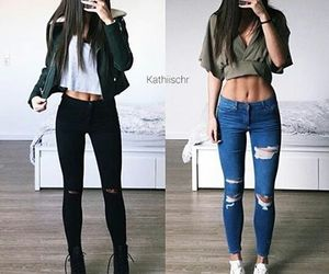 outfit, look, and jeans image