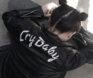 black, grunge, and cry baby image