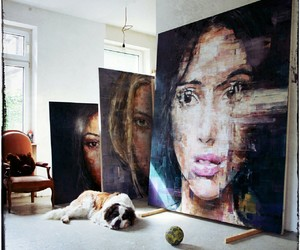 art, painting, and dog image