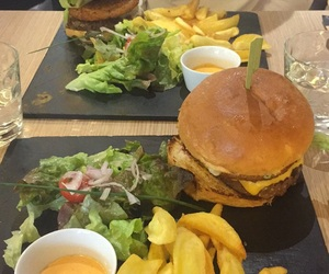 burger, fries, and restaurant image