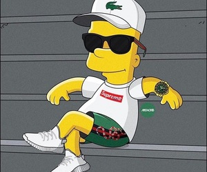bart, lacoste, and simpson image
