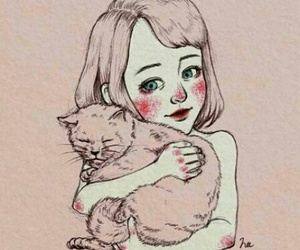 girl, cat, and pink image
